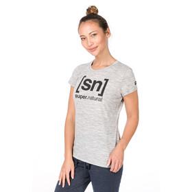 super.natural Essential I.D. T-paita Naiset, ash melange/jet black logo